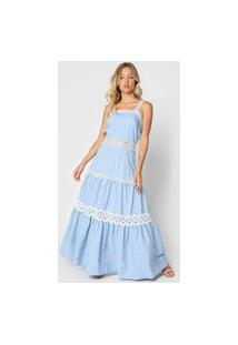 Vestido Lança Perfume Longo Guipir Azul