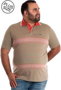 Camisa Polo Konciny Plus Size Marrom Claro