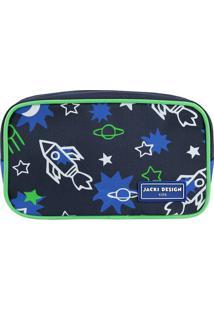 Nécessaire Foguetes- Azul Marinho & Verde Limão- 11Xjacki Design