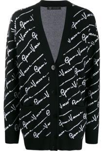 Versace Cardigan Com Logo - Preto