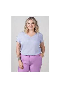 Blusa Ampla Almaria Plus Size New Umbi Detalhe Posterior Azul