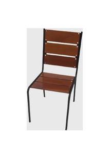 Cadeira Reta Em Madeira E Aço Pintado Preta Móveis Pressa