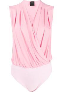 Pinko Body Com Efeito Transpassado - Rosa