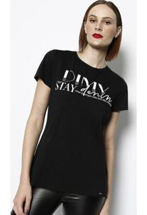 Camiseta Com Termocolantes- Preta & Brancadimy
