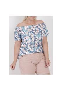 Blusa Ciganinha Estampada Plus Size Feminina Azul