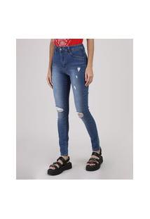 Calça Jeans Feminina Sawary Skinny Lipo Destroyed Cintura Média Azul Médio