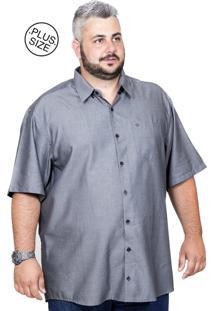 Camisa Plus Size Bigshirts Manga Curta Modal Cinza Grafite