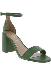 Sandália Gabriela Salto Grosso Verde Verde-Oliva