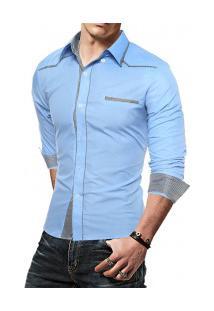 Camisa Masculina Manga Longa 7670 - Azul Claro
