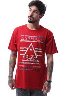 Camiseta Asphalt California Bear Delta Masculina - Masculino-Vermelho