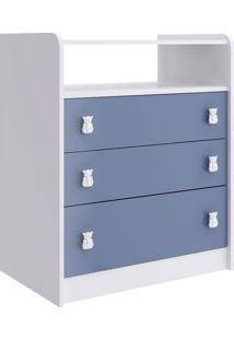 Cômoda Infantil Alladin 3 Gv Branca E Azul