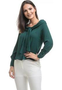Blusa Clara Arruda Nó Frontal Feminina - Feminino-Verde