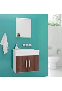 Gabinete Para Banheiro Chow 46X31X51Cm Com Lavatório E Espelheira Munique Cerocha