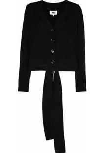 Mm6 Maison Margiela Cardigan De Tricô Com Amarração Frontal - Preto