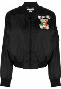 Moschino Jaqueta Bomber Com Estampa De Logo - Preto