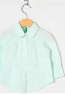 Camisa Benetton Masculino Xadrez Verde E Branca - M
