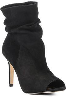 Ankle Boot Couro Shoestock Slouch Salto Fino - Feminino-Preto