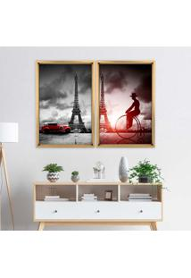 Quadro Love Decor Com Moldura Chanfrada Paris Madeira Clara - Grande