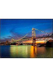 Jogo Americano Decorativo, Criativo E Descolado | Ponte Hercílio Luz Em Florianópolis, Sc - Tamanho 30 X 40 Cm