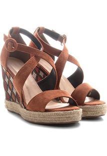 Sandália Couro Anabela Shoestock Plataforma Com Bordado Feminina - Feminino-Marinho