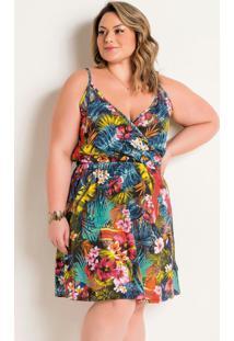 Vestido De Alças Plus Size Tropical