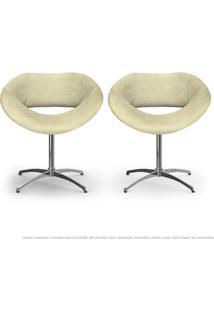 Kit 02 Cadeiras Beijo Areia Poltronas Decorativas Com Base Giratória
