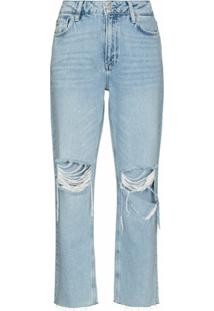 Paige Ripped Noella Cropped Jeans - Azul