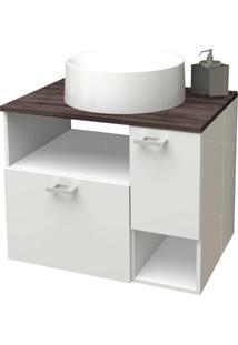 Gabinete Para Banheiro Em Mdf Iara 59,5X47,8Cm Branco E Dakota