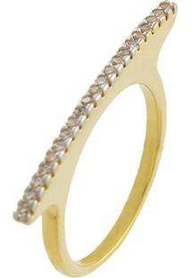 Anel Narcizza Com Fileira De Micro Zircônia Cristal Banhado No Ouro