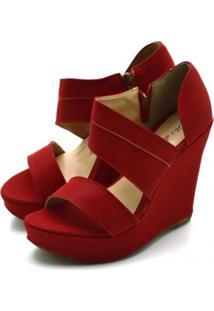 Sandália Anabela Salto Alto Em Nobucado Vermelho - Tricae