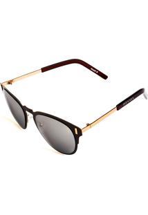Óculos De Sol Titânia Aviador Dourado E Marrom Com Lente Espelhada Prata
