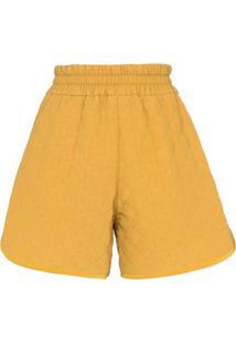 Fendi Quilted Crêpe De Chine Shorts - Amarelo
