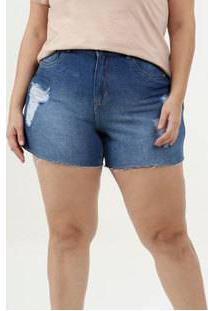 Short Feminino Jeans Destroyed Plus Size Marisa