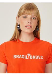 T-Shirt Amaro Cropped Malha Canelada Estampa Coral - Laranja - Feminino - Dafiti