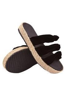 Sandalia Salto Alto Anabela Feminina Plataforma Preto