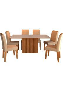Conjunto De 6 Cadeiras Para Sala De Jantar 180X90 Ana/Tais-Cimol - Savana / Offwhite / Caramelo