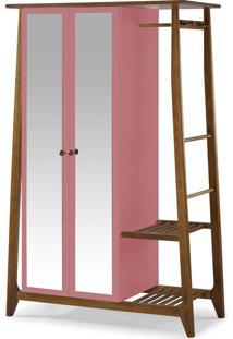Armário Multiuso 2 Portas Stoka 982 Nogal/Rosa New - Maxima
