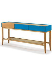 Aparador Duo 3 Gavetas Cor Natural Com Azul - 29300 - Sun House
