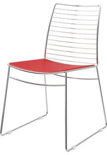 Cadeira 1712 Cromado Com Assento Couro Vermelho - 27676