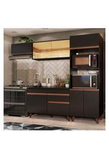 Cozinha Completa Madesa Reims Xa260001 Com Armário E Balcão Preto Cor:Preto