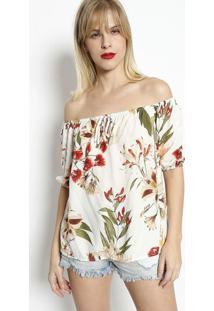 Blusa Ciganinha Com Elástico- Branca & Rosêdimy