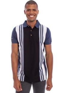 Camisa Polo Aleatory Listrada Freedom Masculina - Masculino-Marinho