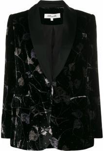 Dvf Diane Von Furstenberg Blazer De Veludo Com Estampa Floral - Preto