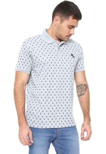 Camisa Polo Red Nose Reta Estampada Cinza