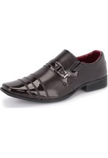Sapato Social Sintético 833 Marrom Verniz Schiareli