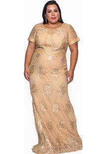 Vestido L Mc Renda Bm Dourado