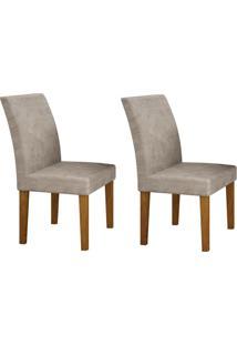 Conjunto Com 2 Cadeiras Olímpia Imbuia Mel E Pena Palha