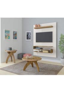 Sala De Estar Com Painel Para Tv Até 42 Polegadas Orion Mesa De Centro E Mesa Lateral Jade Artely Off White/Pinho