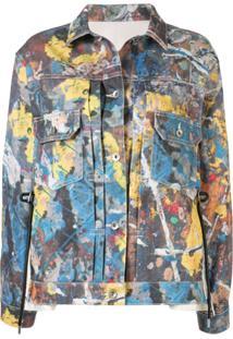 Sacai Jaqueta Jeans Com Respingos De Tintas - Estampado