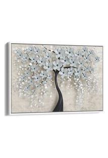 Quadro 60X90Cm Flores Cerejeiras Branca E Preta Canvas Moldura Flutuante Branca